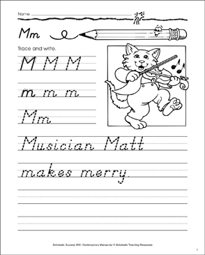 Uppercase M, Lowercase m: Contemporary Manuscript Practice - Printable Worksheet