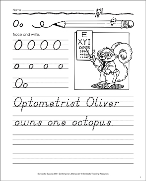 Uppercase O, Lowercase o: Contemporary Manuscript Practice - Printable Worksheet