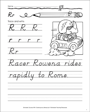 Uppercase R, Lowercase r: Contemporary Manuscript Practice - Printable Worksheet