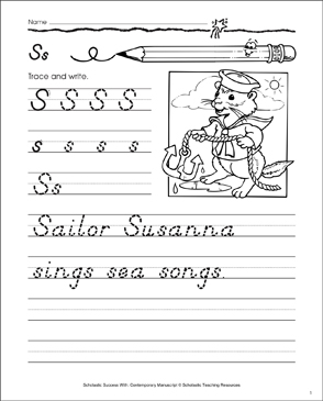 Uppercase S, Lowercase s: Contemporary Manuscript Practice - Printable Worksheet