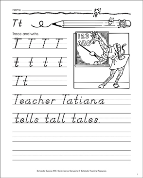 Uppercase T, Lowercase t: Contemporary Manuscript Practice - Printable Worksheet