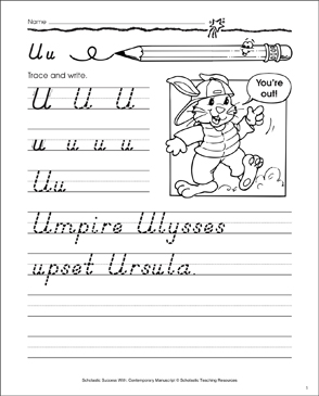 Uppercase U, Lowercase u: Contemporary Manuscript Practice - Printable Worksheet