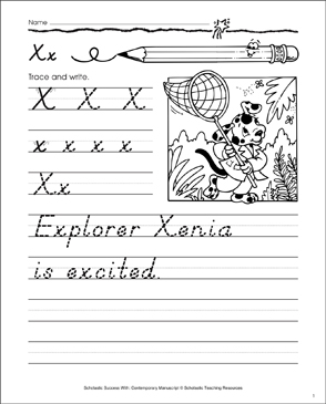 Uppercase X, Lowercase x: Contemporary Manuscript Practice - Printable Worksheet