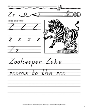 Uppercase Z, Lowercase z: Contemporary Manuscript Practice - Printable Worksheet