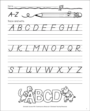 Uppercase A-Z: Contemporary Manuscript Practice - Printable Worksheet