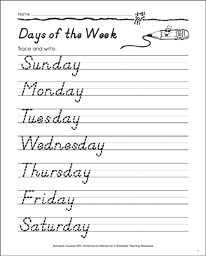 Days of the Week, Capitalized: Contemporary Manuscript Practice - Printable Worksheet