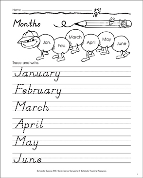 Months of the Year, Capitalized: Contemporary Manuscript Practice - Printable Worksheet