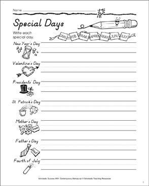 Special Days: Contemporary Manuscript Practice - Printable Worksheet