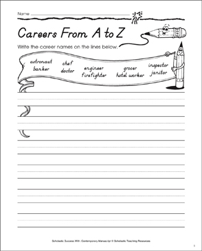 Careers from a-z, Lowercase: Contemporary Manuscript Practice - Printable Worksheet