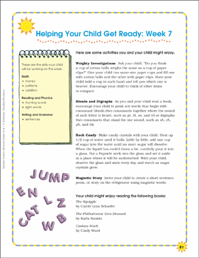 Week 7: Summer Express Between K and 1 - Printable Worksheet