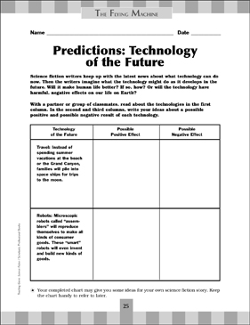 Predictions: Technology of the Future - Printable Worksheet