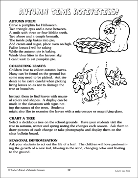 Autumn Time Activities - Printable Worksheet