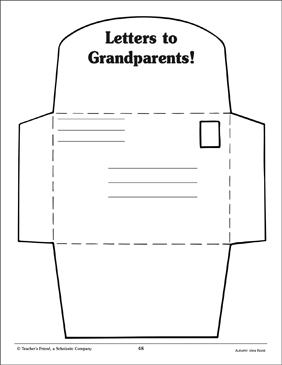 Envelope Pattern for Grandparents' Day - Printable Worksheet