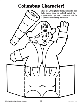 Stand-Up Christopher Columbus Pattern - Printable Worksheet