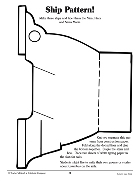 Columbus' Ship Pattern - Printable Worksheet