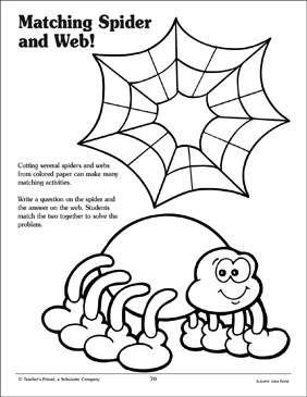 Matching Spider and Web: Patterns - Printable Worksheet