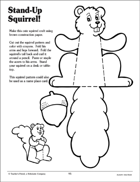 Stand Up Squirrel Craft Activity Printable Arts Crafts And