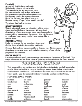 Football-Themed Activities and Bingo Board Pattern - Printable Worksheet