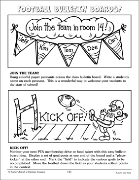 Football-Themed Bulletin Board Ideas - Printable Worksheet
