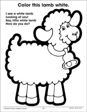 White Lamb and Color Poem - Printable Worksheet