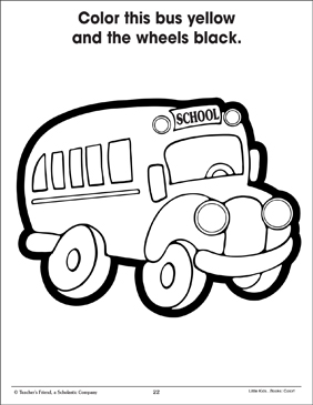 Bus and Wheels (Using Two Colors) - Printable Worksheet