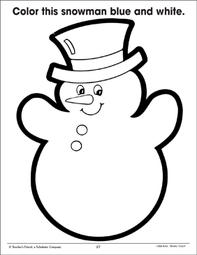Blue and White Snowman (Using Two Colors) - Printable Worksheet