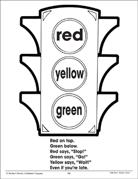 traffic light and color poem using three colors printable coloring pages. Black Bedroom Furniture Sets. Home Design Ideas