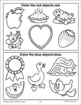 Red And Blue Coloring Corresponding Pictures Printable Coloring