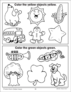 Yellow and Green (Coloring Corresponding Pictures) - Printable Worksheet