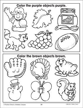 Purple and Brown (Coloring Corresponding Pictures) - Printable Worksheet
