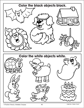 Black and White (Coloring Corresponding Pictures) - Printable Worksheet