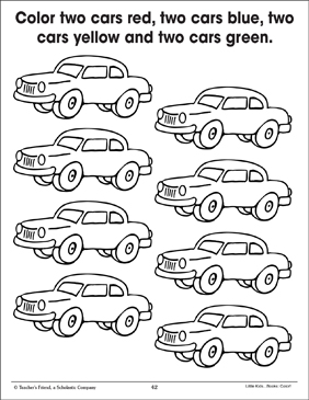 Cars (Coloring to Show Quantity) - Printable Worksheet