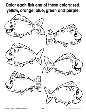 Fish (Coloring to Show Quantity) - Printable Worksheet
