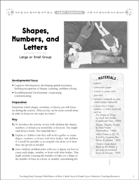 Shapes, Numbers, and Letters: Early Concepts - Printable Worksheet