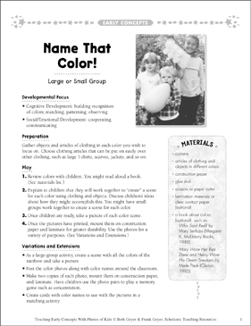 Name That Color! Early Concepts - Printable Worksheet
