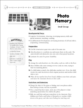 Photo Memory: Early Concepts - Printable Worksheet
