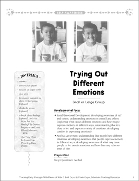 Trying Out Different Emotions: Early Concepts - Printable Worksheet