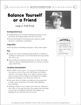 Balance Yourself or a Friend: Early Concepts - Printable Worksheet