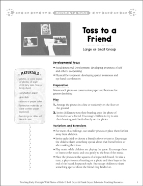 Toss to a Friend: Early Concepts - Printable Worksheet