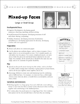 Mixed-up Faces: Early Concepts - Printable Worksheet