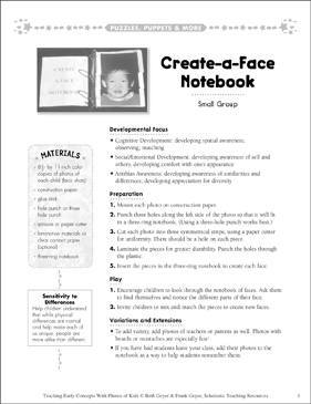 Create-a-Face Notebook: Early Concepts - Printable Worksheet