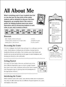 All About Me: Science Center - Printable Worksheet