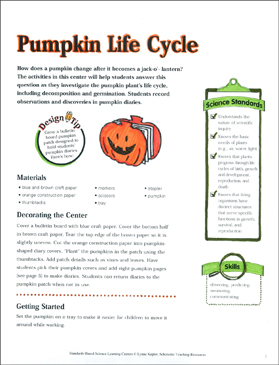 Pumpkin Life Cycle: Science Center - Printable Worksheet