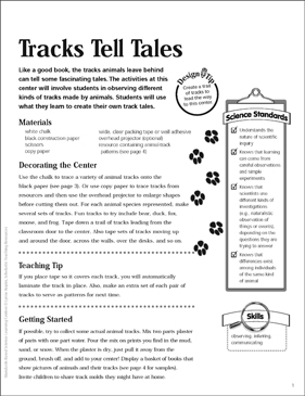 Tracks Tell Tales: Science Center - Printable Worksheet