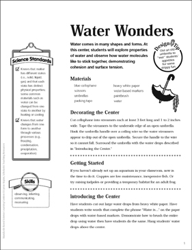 Water Wonders: Science Center - Printable Worksheet