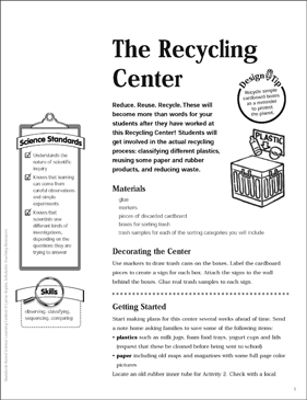 The Recycling Center: Science Center - Printable Worksheet