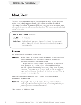 Ideas, Ideas - Mining Ideas: Beginning Writer Mini-Lesson - Printable Worksheet