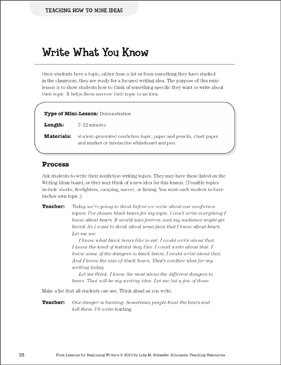Write What You Know - Mining Ideas: Beginning Writer Mini-Lesson - Printable Worksheet