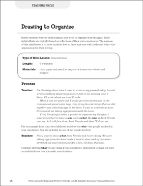 Drawing to Organize - Focus: Beginning Writer Mini-Lesson - Printable Worksheet