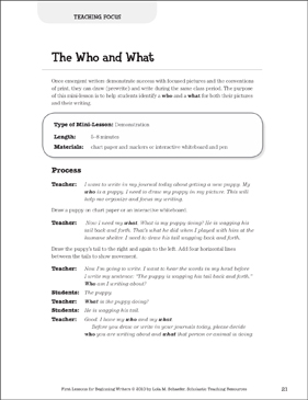 The Who and What - Focus: Beginning Writer Mini-Lesson - Printable Worksheet